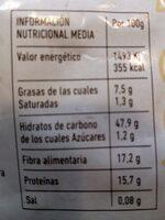 Salvado de avena - Información nutricional