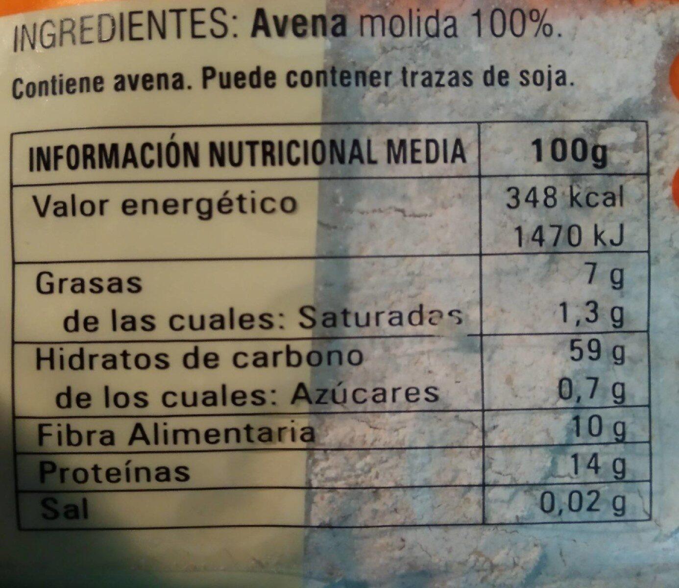 Harina integral de avena - Información nutricional