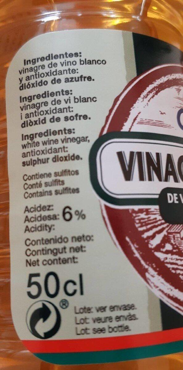 Vinagre vinegar blanco - Información nutricional - es