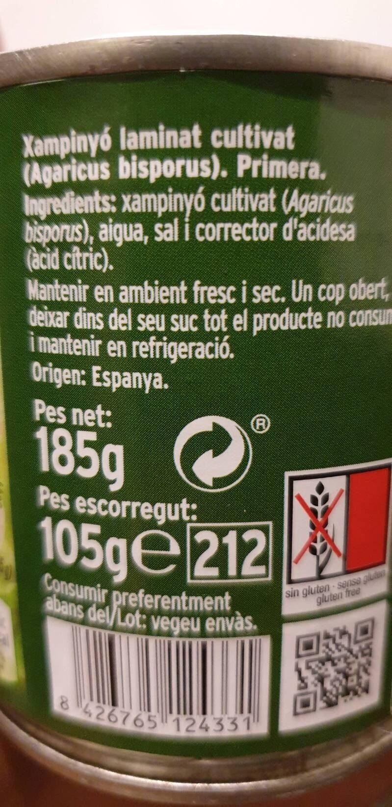 Xampinyons laminats - Ingredients - es