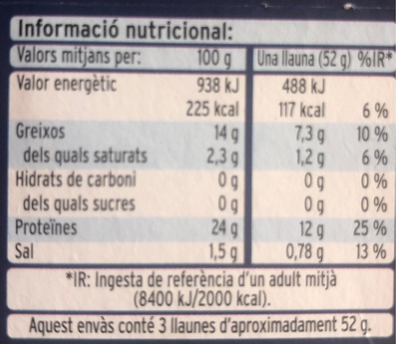 Atun claro al aceite de oliva - Informations nutritionnelles - ca