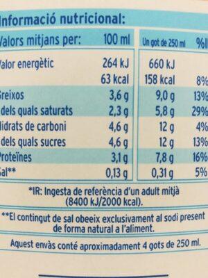Llet Sencera UHT - Nutrition facts - es
