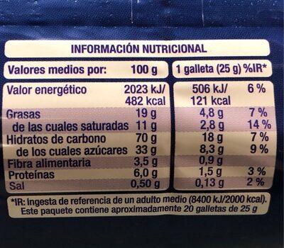 Galetes Condis A / Xocolata - Nutrition facts - es