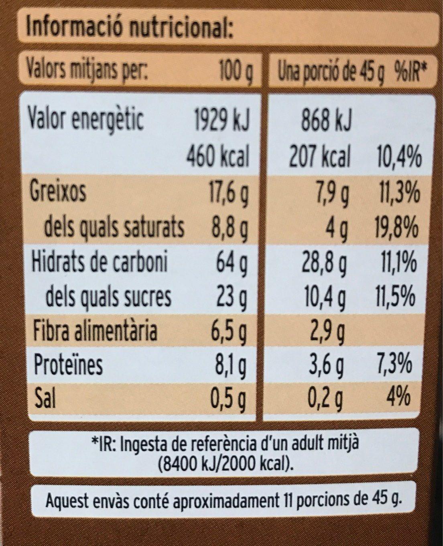 Cereals Condis Muesli Xoco - Informació nutricional - fr