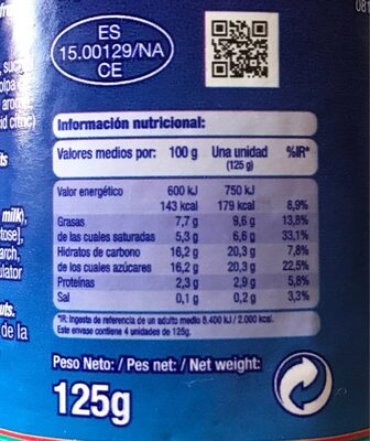 Griego Fresa - Nutrition facts
