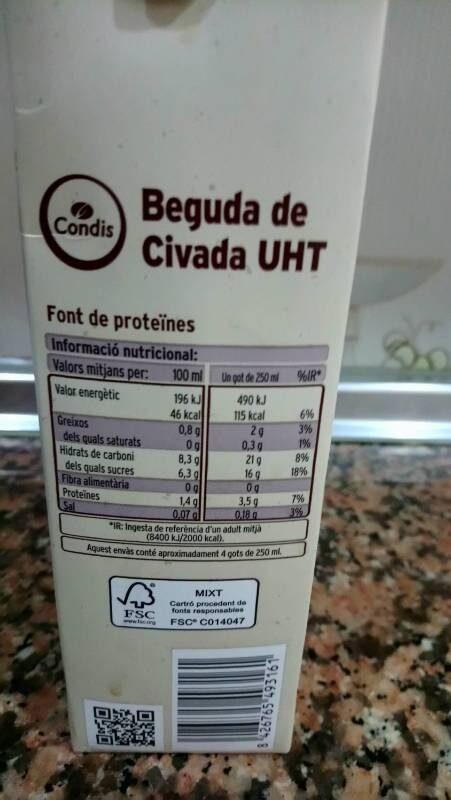 Beguda de civada - Informació nutricional
