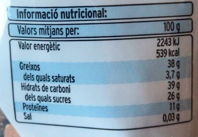 Còctel dietètic de fruits secs - Nutrition facts - es