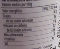 Aliñadas con hueso - Nutrition facts