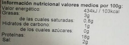 Jamón cocido extra - Nutrition facts - es