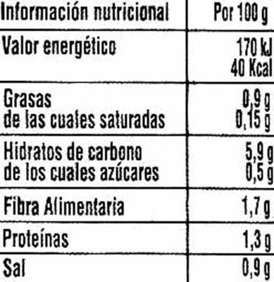 Crema de verduras - Voedingswaarden