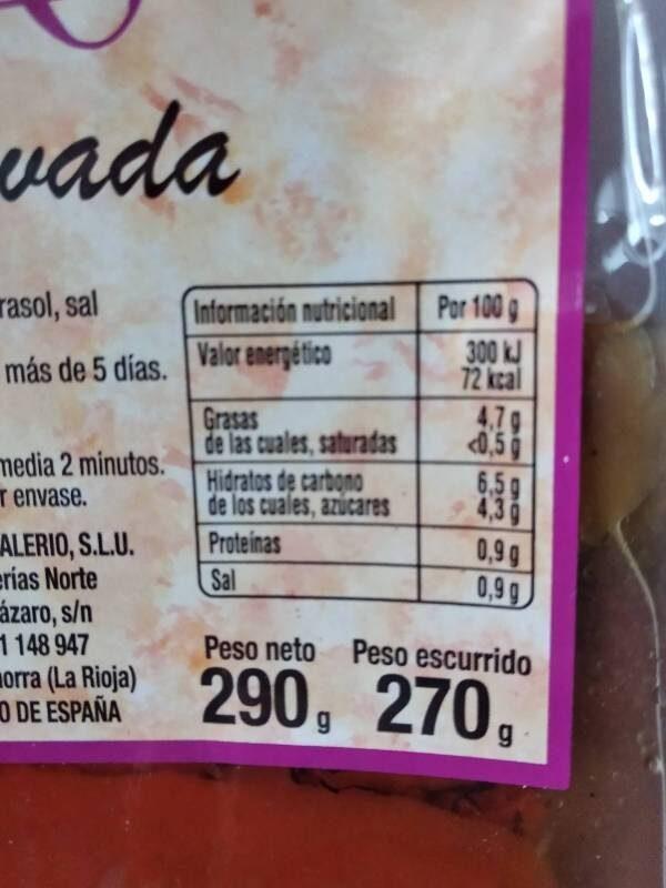 Escalivada - Informació nutricional