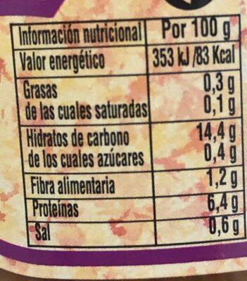 Lenteja cocida extra - Nutrition facts - es