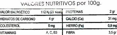 Ajos tiernos - Información nutricional - es