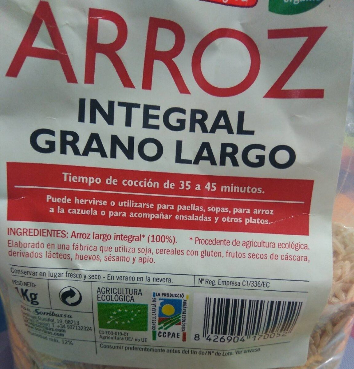 Arroz integral grano largo - Nutrition facts