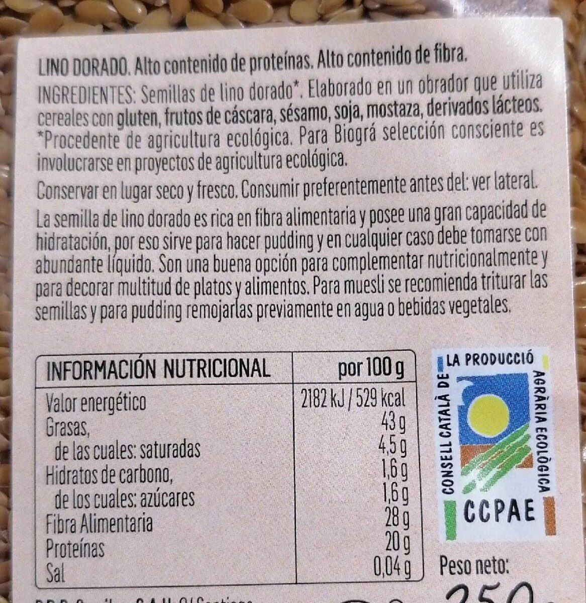 Lino dorado - Nutrition facts - es