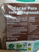 Cacao puro semidesgrasado - Ingrédients - es