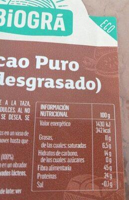 Cacao puro semidesgrasado - Informations nutritionnelles - es