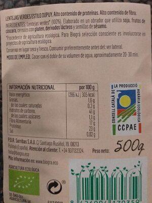 Lentejas verdes estilo dupuy - Información nutricional - es