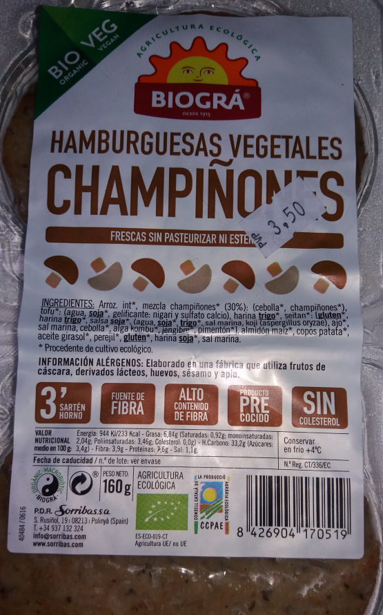 Hamburguesas vegetales champiñones - Product