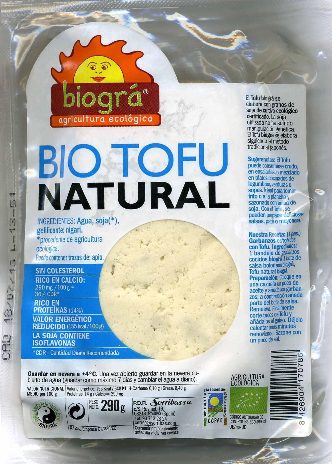Tofu ecológico Natural - Producte