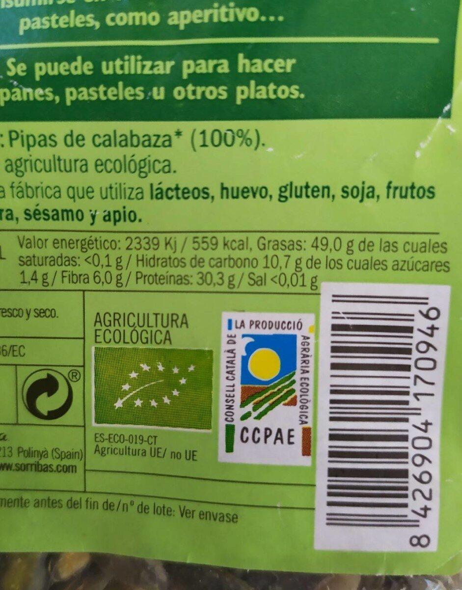 Pipas de calabaza - Información nutricional