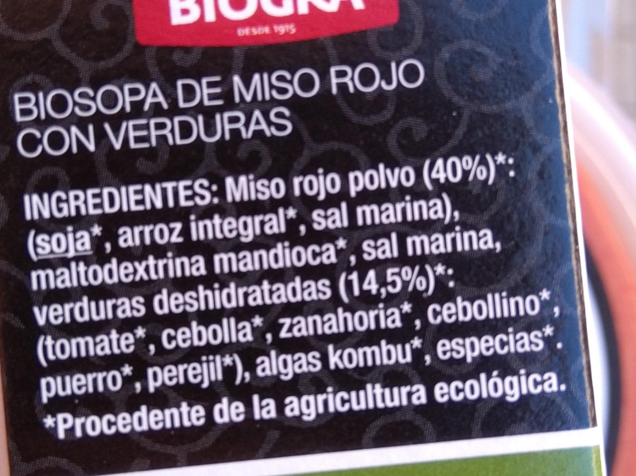 Biosopa de Miso Rojo con Verduras - Ingredients - es