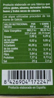 Biosopa de Miso Rojo con Verduras - Informació nutricional - es