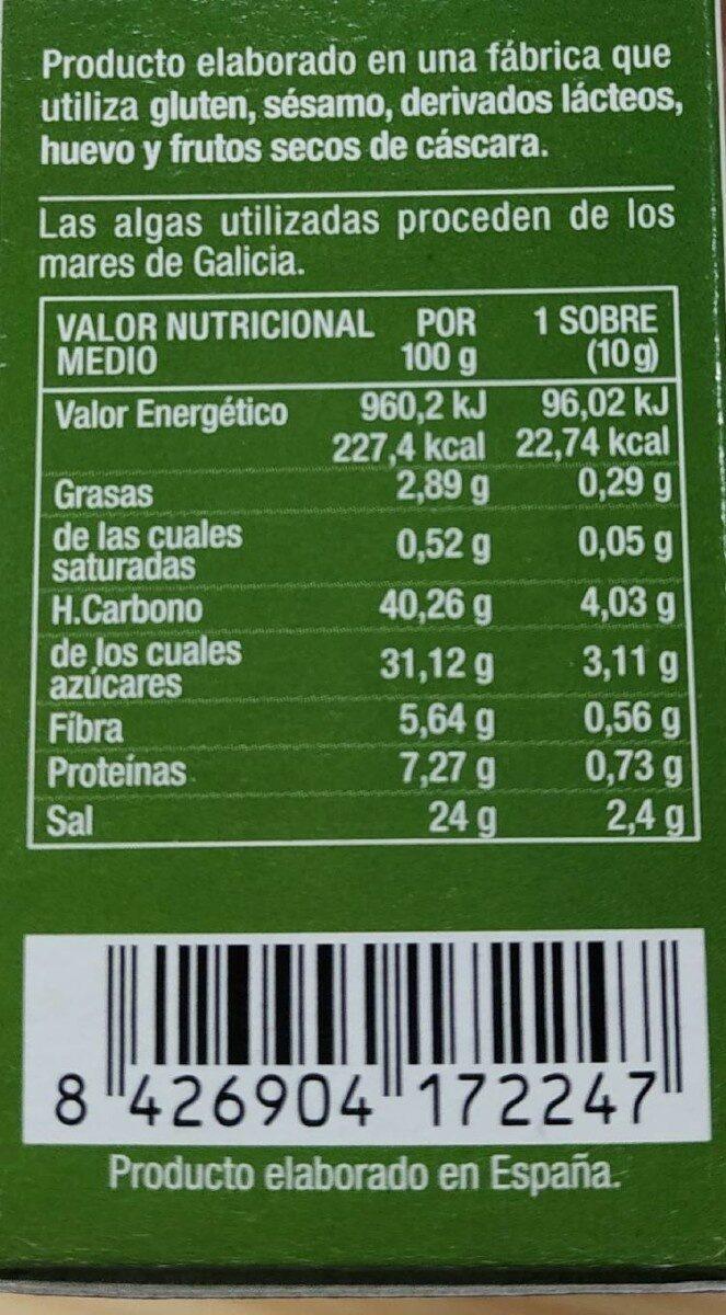 Biosopa de Miso Rojo con Verduras - Información nutricional