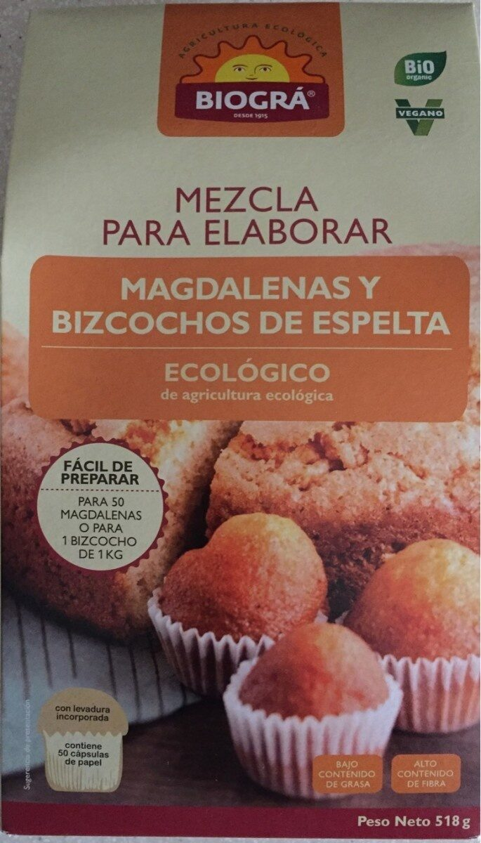 Mezcla para elaborar Magdalenas y Bizcochos de espelta - Producto