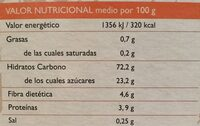 Mezcla para elaborar Magdalenas y Bizcochos de espelta - Información nutricional