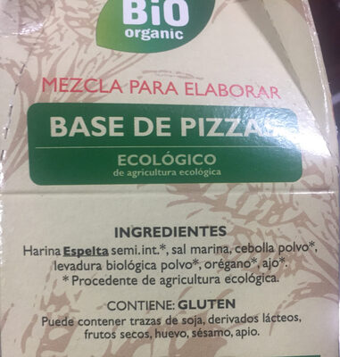 Base de pizzas - Ingredientes