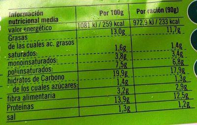 Vistteca sésamo y cebolla - Informació nutricional