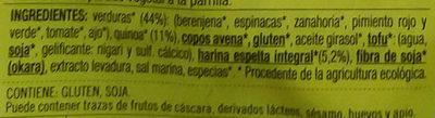 Vistteca Quinoa y verduras (filete vegetal) - Ingredients