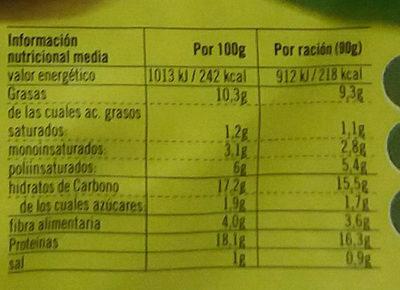 Vistecca quinoa y verduras - Información nutricional