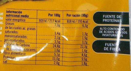 Vistteca Cereales y Semillas (filete vegetal) - Información nutricional