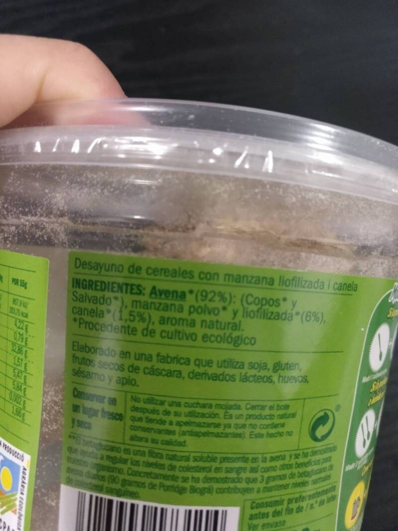 Desayuno Avena Manzana Canela - Ingrediënten