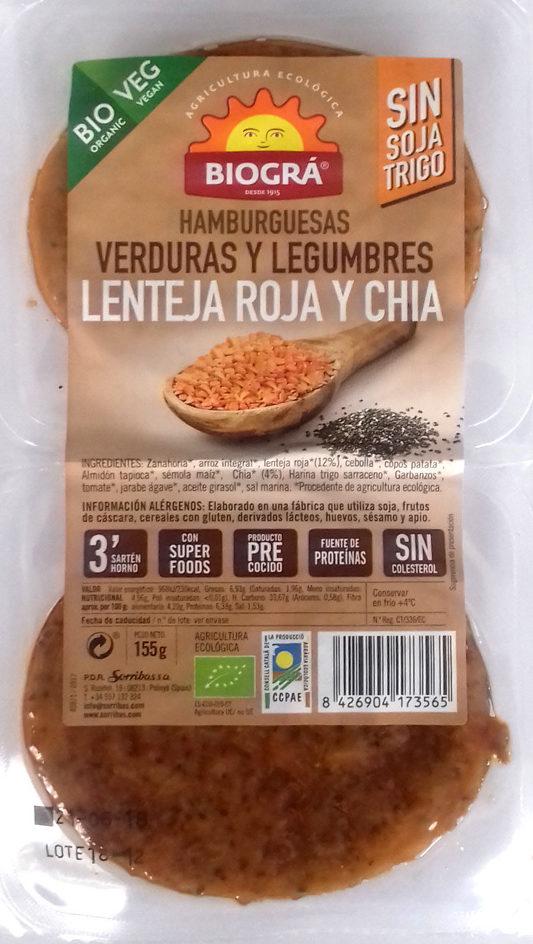 Hamburguesas Verduras y Legumbres Lenteja roja y chía - Product - es