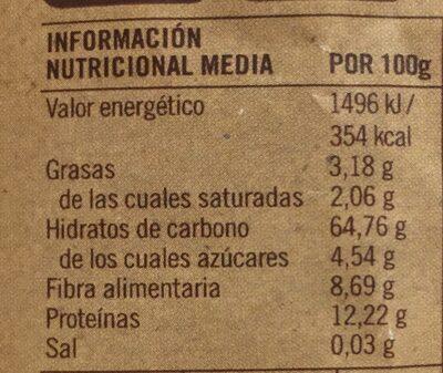 Macarrones Espelta y Quinoa - Información nutricional