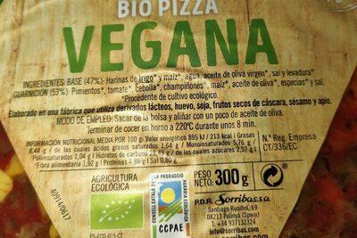 Bio pizza vegana - Información nutricional