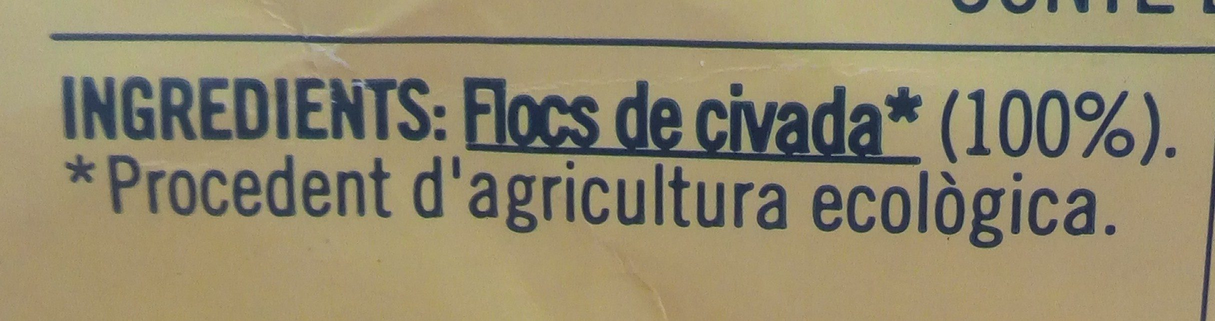 Flocons d'avoine fins bio - Ingredientes