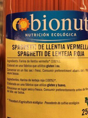spaghetti lenteja roja - Ingredients