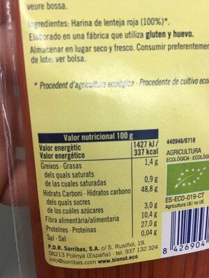 spaghetti lenteja roja - Informació nutricional