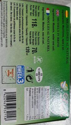 Mejillones al natural - Información nutricional