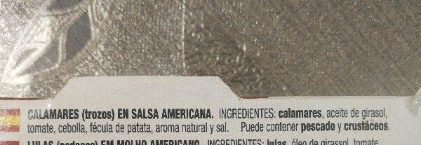 Calamares en salsa americana - Ingredients - es