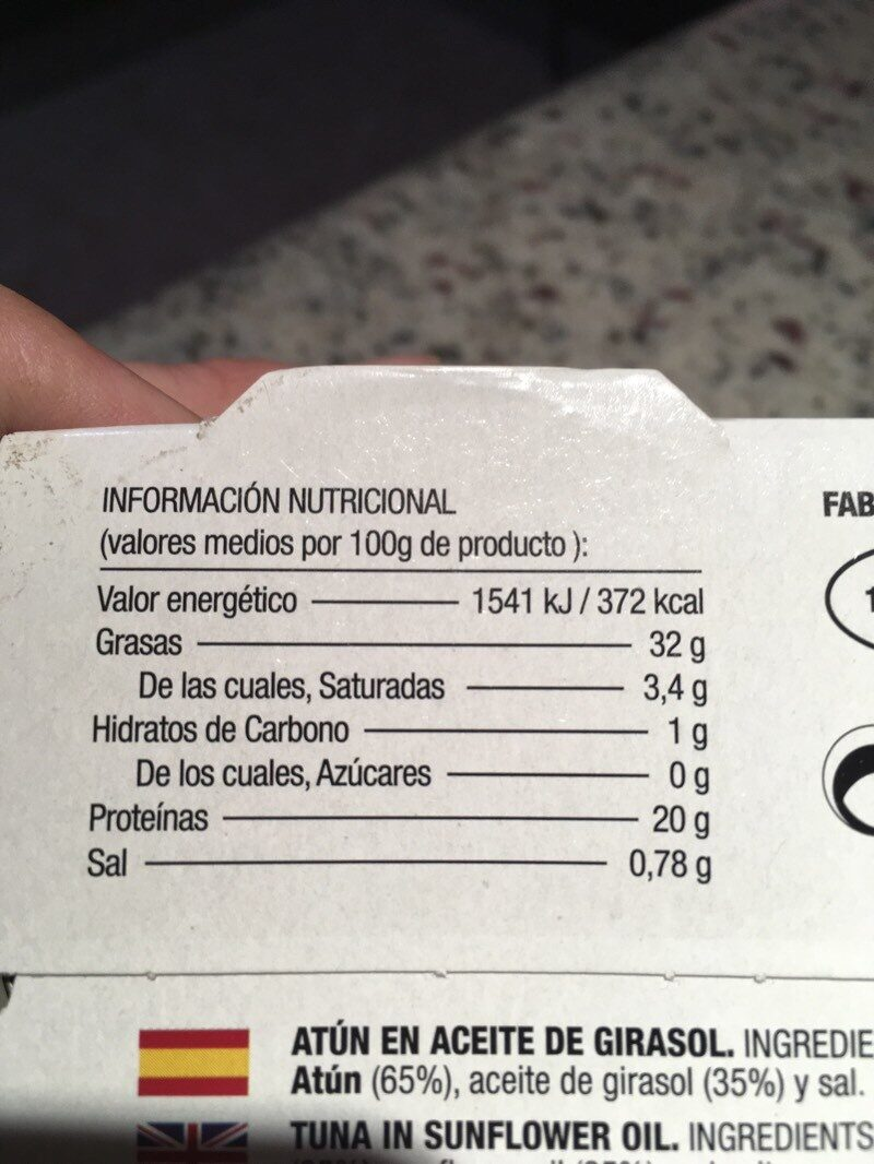 Atun en aceite de girasol - Nutrition facts