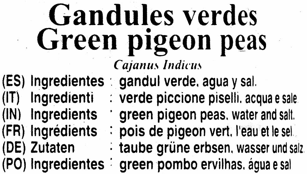 Gandules verdes en conserva - Ingredientes