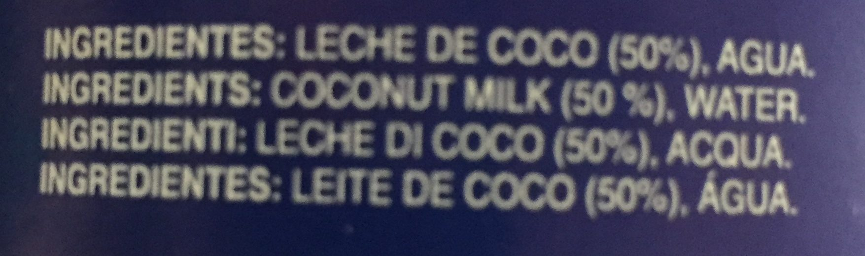 Leche de coco para cocinar - Ingredients - fr