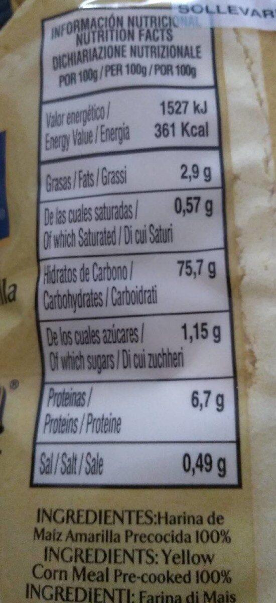Harina de maíz amarilla precocida - Información nutricional - es
