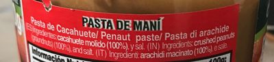 Pasta de maní - Ingredients - fr