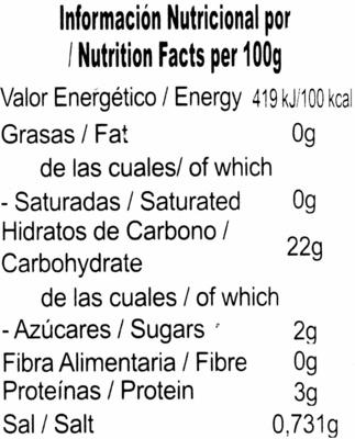 Guandules verdes - Información nutricional - es